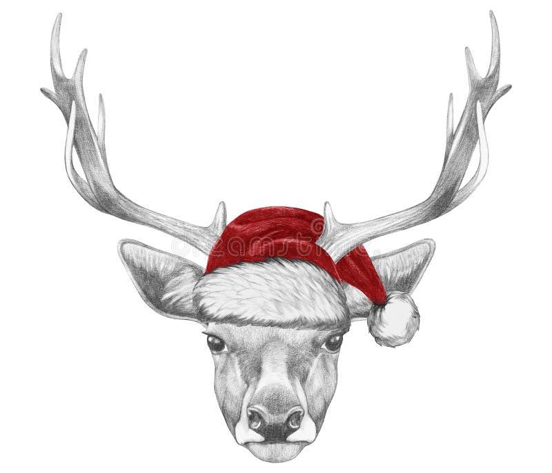 Stående av hjortar med Santa Hat vektor illustrationer