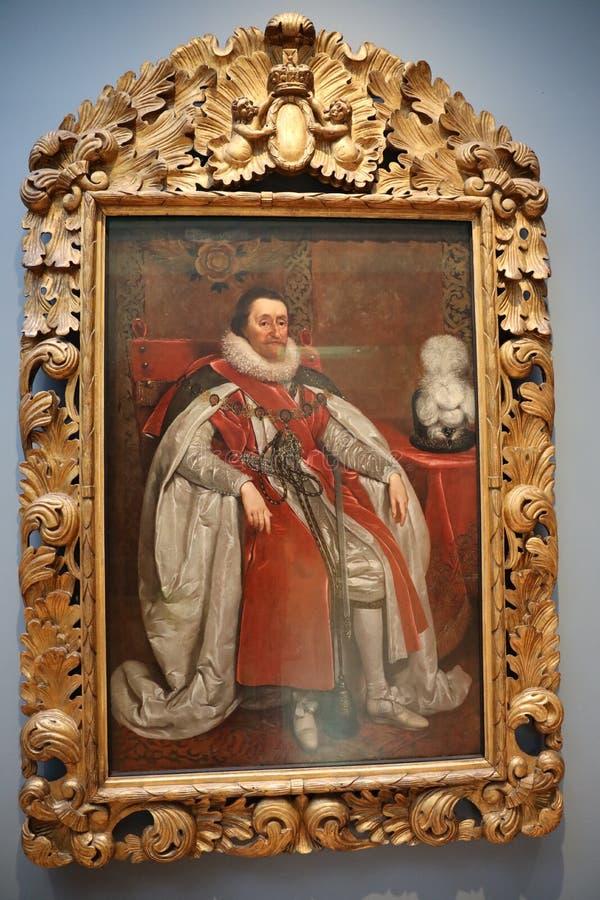 Stående av James VI och I, konung av Skottland, England och Irland arkivfoto