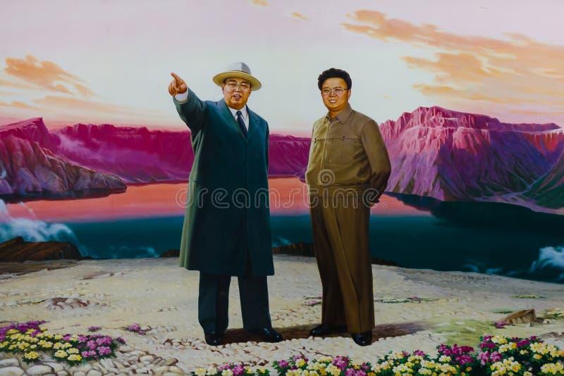 Stående av Kim Il-sung och Kim Jong-il royaltyfri foto
