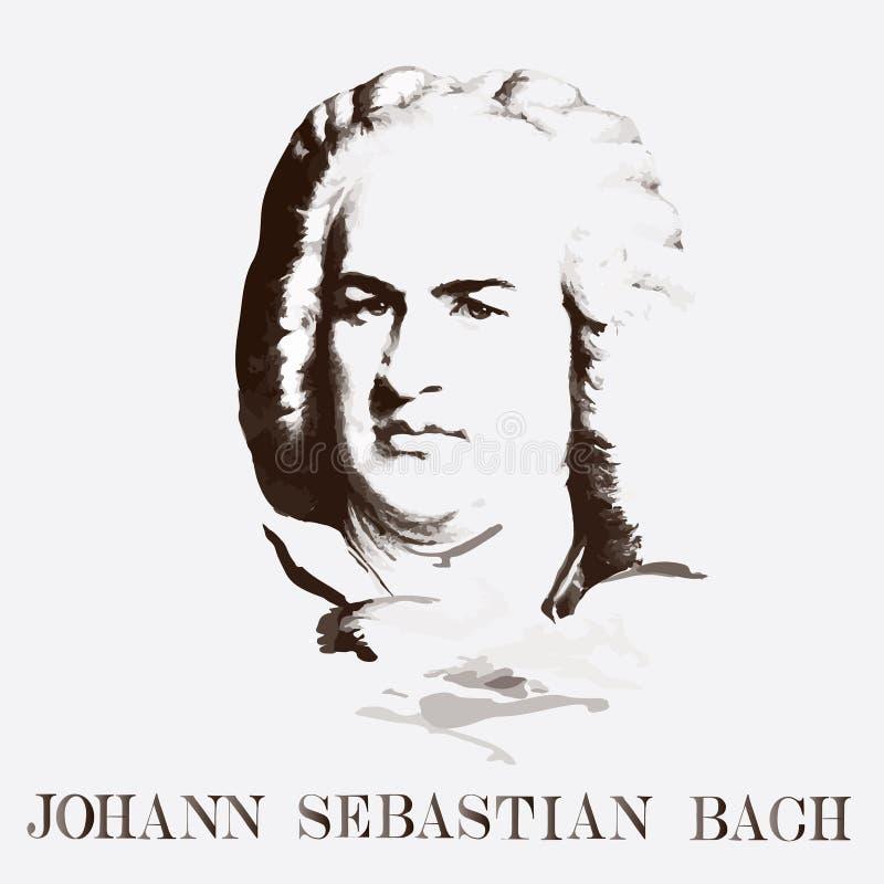 Stående av kompositören Johann Sebastian Bach royaltyfri illustrationer