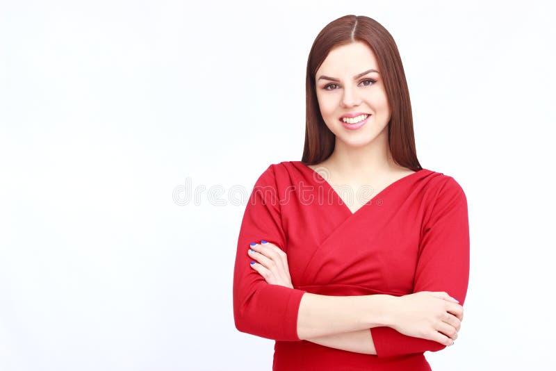 Stående av kvinnan i rött royaltyfri foto