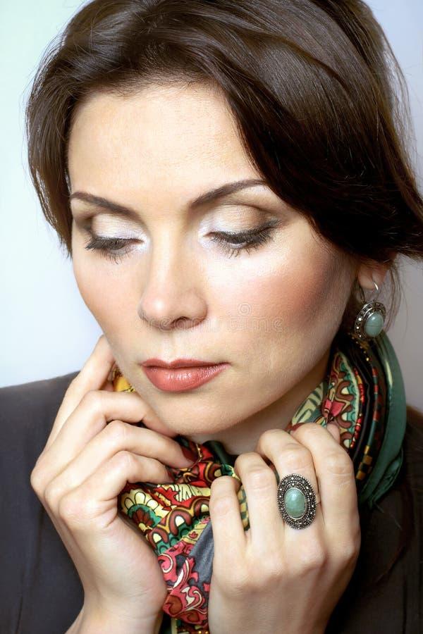 Stående av kvinnan med makeup royaltyfria foton