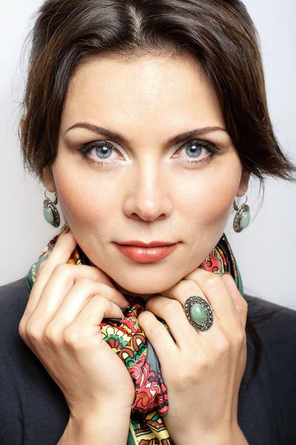 Stående av kvinnan med makeup arkivbild