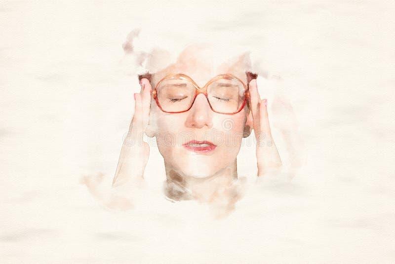 Stående av kvinnan med stora exponeringsglas som har en huvudvärk stock illustrationer