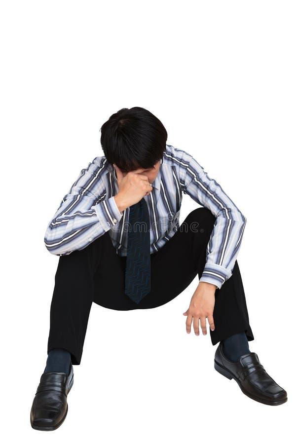 Stående av ledset affärsmansammanträde på däcka arkivfoton