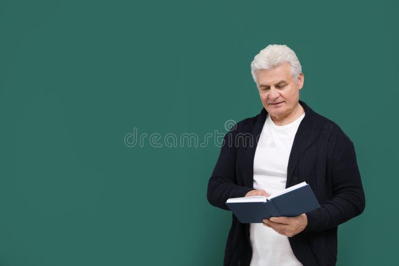 Stående av lektorn med boken på den gröna svart tavlan royaltyfri fotografi