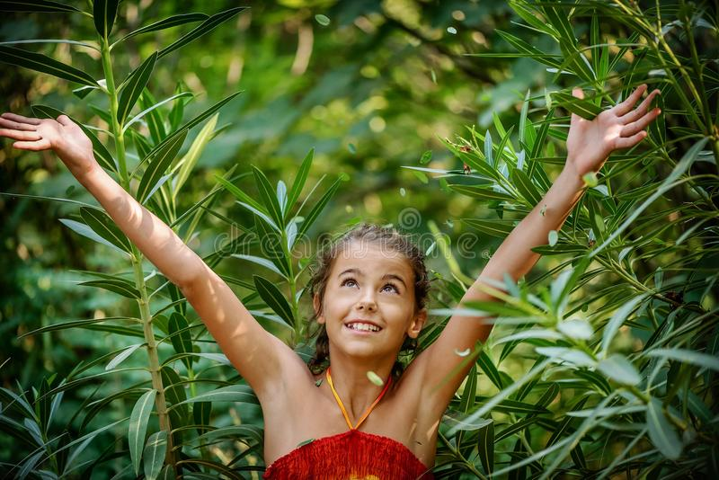 Stående av lite flickan i buskarna royaltyfria foton
