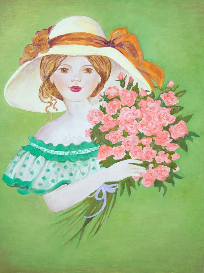 Stående av lite flickan i en vit hatt med en bukett av röda rosor på en grön bakgrund vektor illustrationer