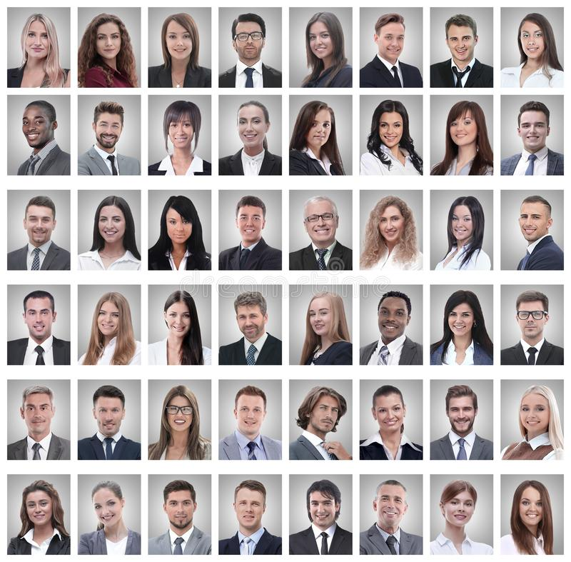 Stående av lyckade unga affärsmän på vit royaltyfria bilder