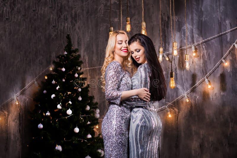 Stående av lycklig le brunett två och den blonda kvinnlign med stängda ögon på bakgrunden av julpynt arkivfoton