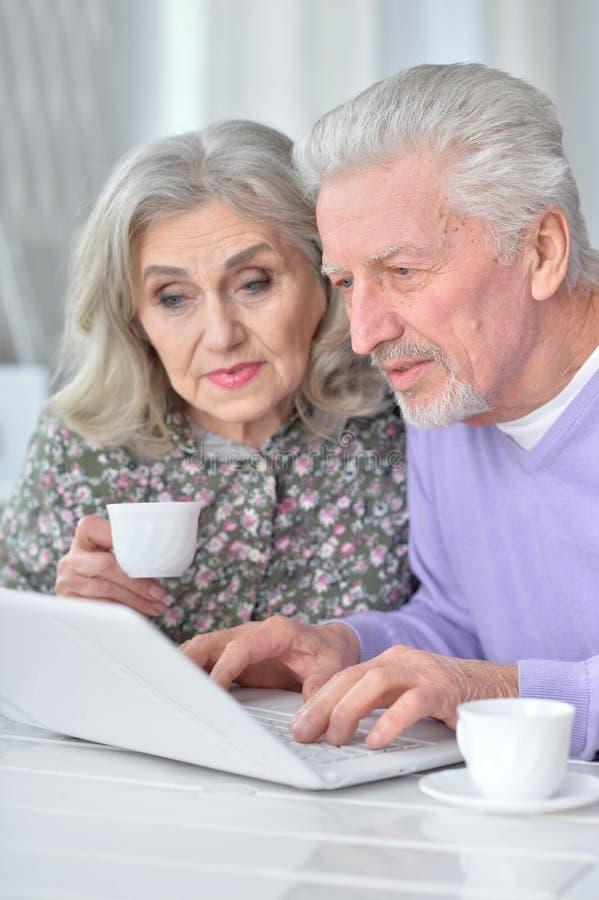 Stående av lyckliga höga par genom att använda bärbara datorn arkivfoton