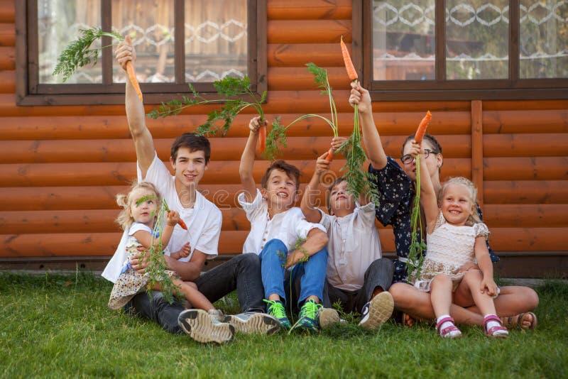 Stående av lyckliga stiliga pojkar och lilla flickan på bakgrund av trähuset arkivfoto