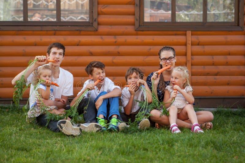 Stående av lyckliga stiliga pojkar och lilla flickan på bakgrund av trähuset arkivbilder