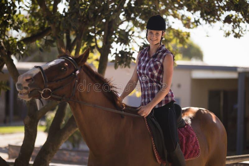 Stående av lyckligt kvinnligt jockeysammanträde på häst royaltyfri foto