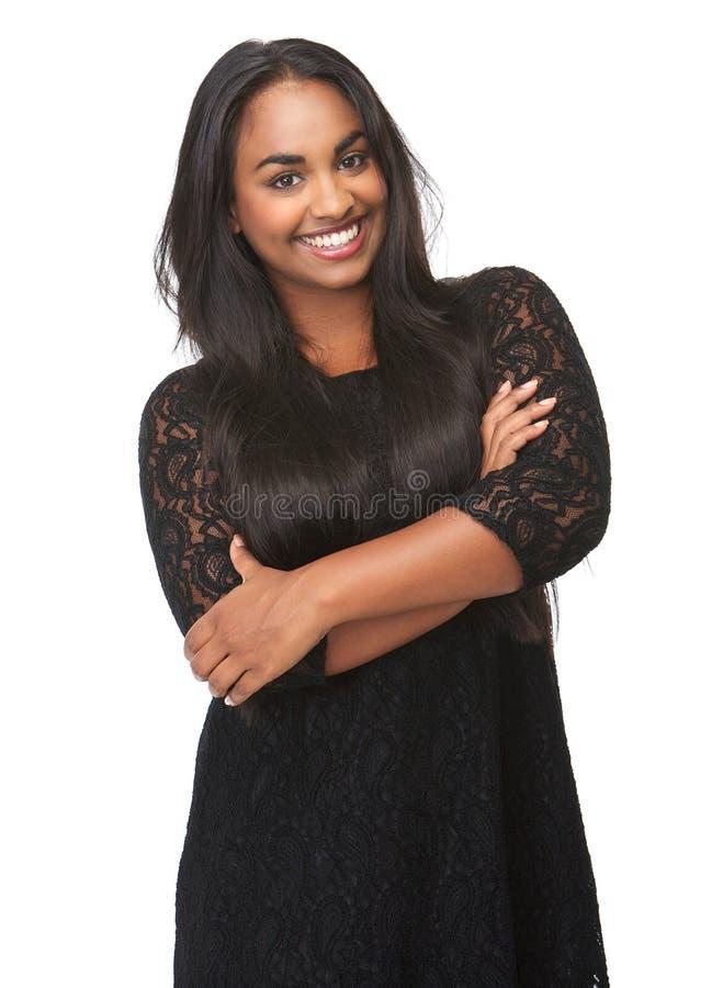 Stående av lyckligt le för ung kvinna royaltyfri fotografi