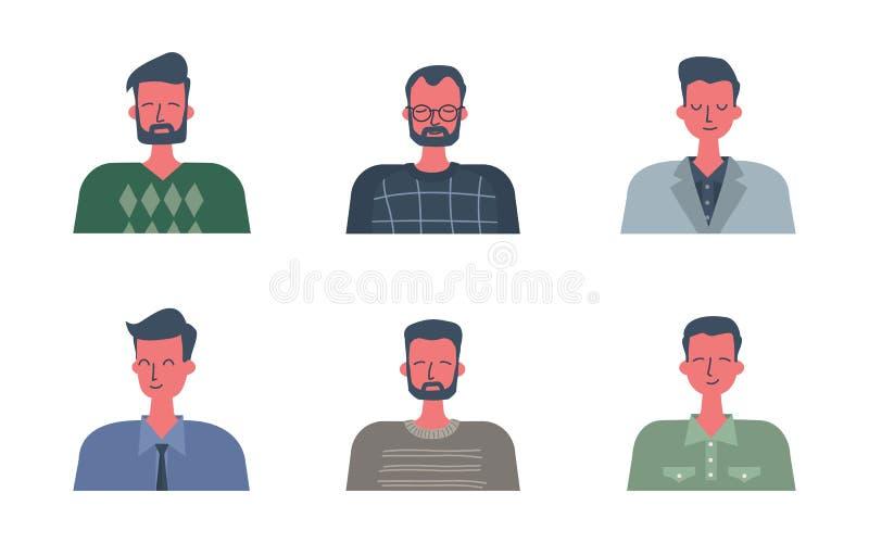 Stående av män i plan design stock illustrationer