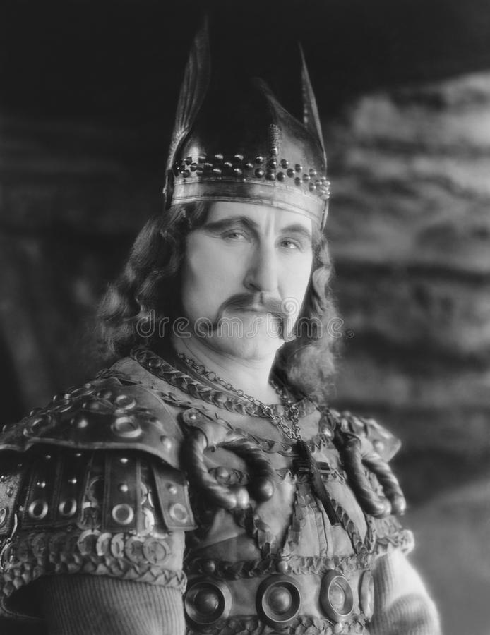 Stående av mannen i den Viking dräkten (alla visade personer inte är längre uppehälle, och inget gods finns Leverantörgarantier s royaltyfri foto