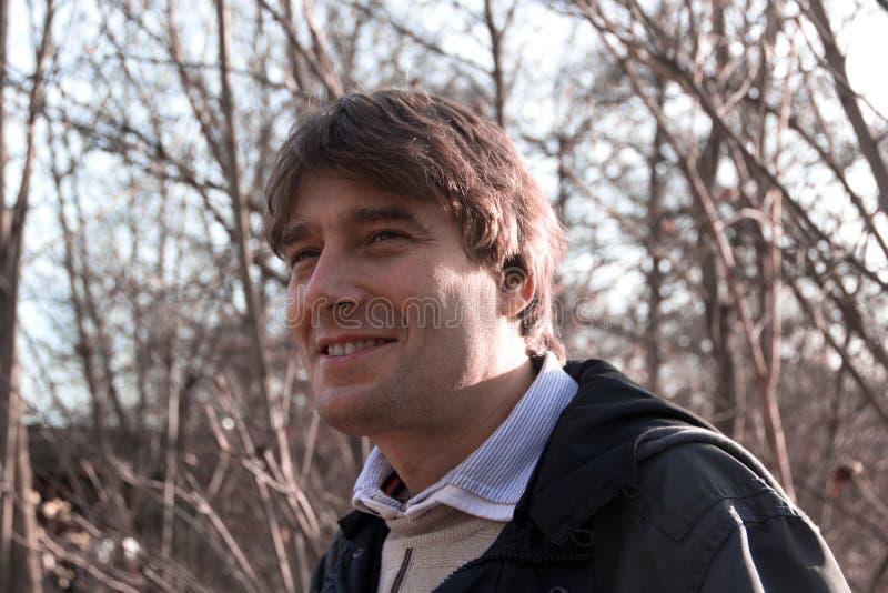 Stående av mannen utomhus i skog royaltyfria foton