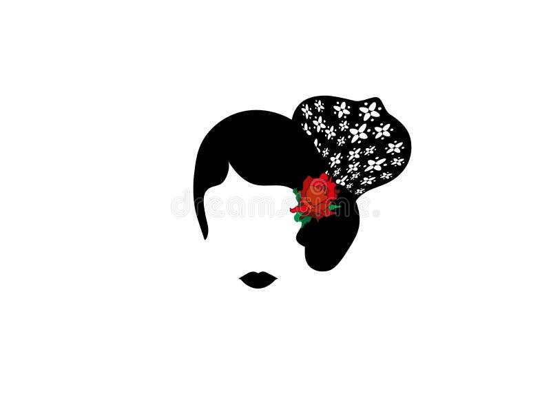 Stående av modern latin eller spanjor kvinna, dam med tillbehörpeineta och röd blomma, isolerad symbol, vektorillustrationtrans. royaltyfri illustrationer