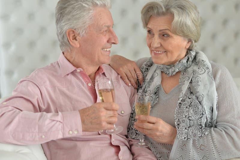 Stående av mogna par som hemma dricker champagne fotografering för bildbyråer