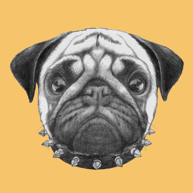 Stående av mopshunden med kragen stock illustrationer