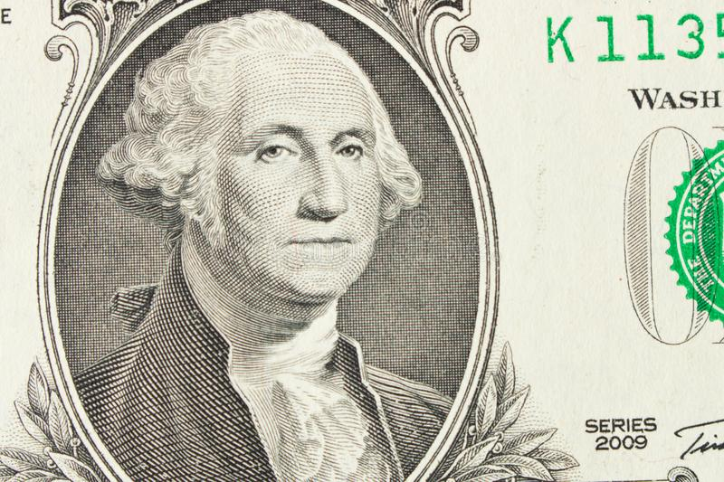 Stående av presidenten George Washington på 1 dollar räkning close arkivbild