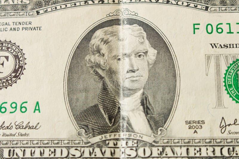 Stående av presidenten Thomas Jefferson på en räkning för dollar 2 clos arkivfoton