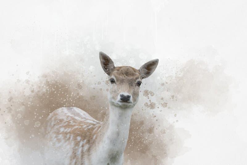Stående av prickiga dovhjortar, vattenfärgmålning Djur illustration royaltyfri illustrationer