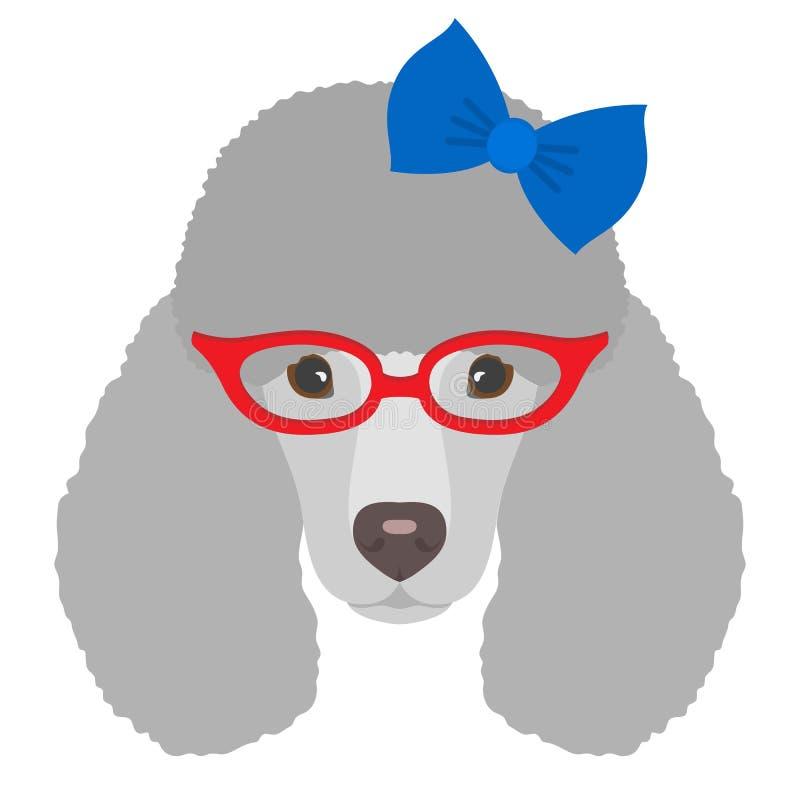 Stående av pudelhunden med exponeringsglas och pilbågen i plan stil Vecto royaltyfri illustrationer