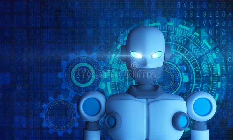 Stående av roboten med HUD diagrammet, konstgjord intelligens vektor illustrationer