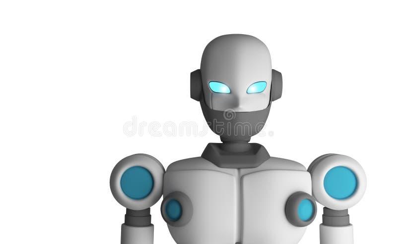 Stående av roboten som isoleras på vit, konstgjord intelligens vektor illustrationer