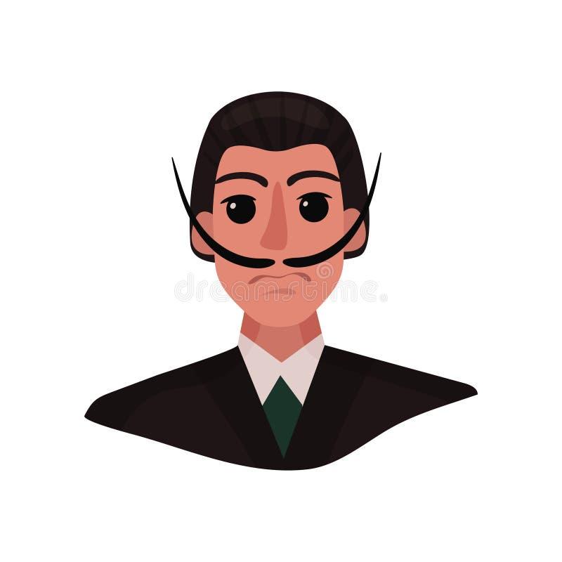 Stående av Salvador Dali med den långa mustaschen och uttrycksfulla ögon white f?r vektor f?r bakgrundsillustrationhaj royaltyfri illustrationer