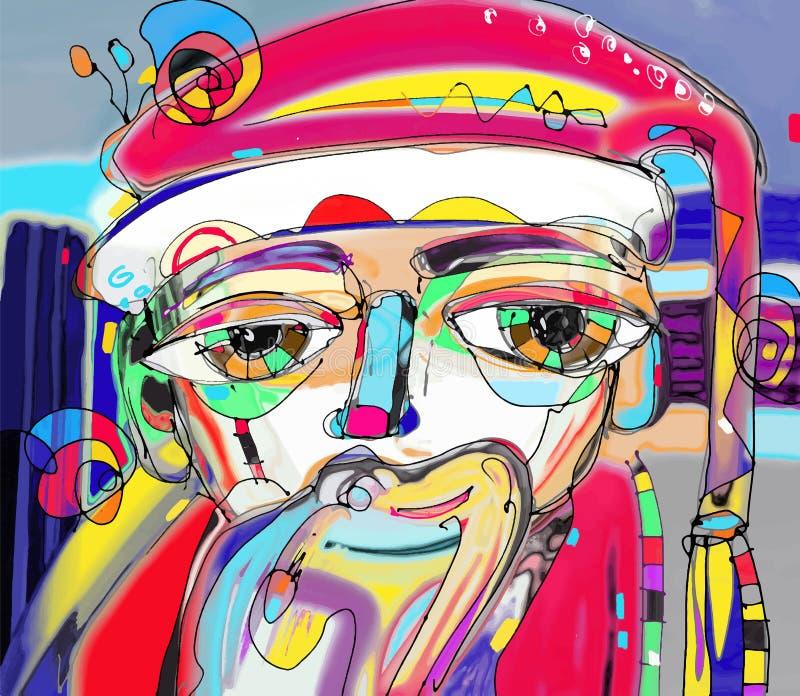 Stående av Santa Claus i modern abstraktionmålningkonst stock illustrationer