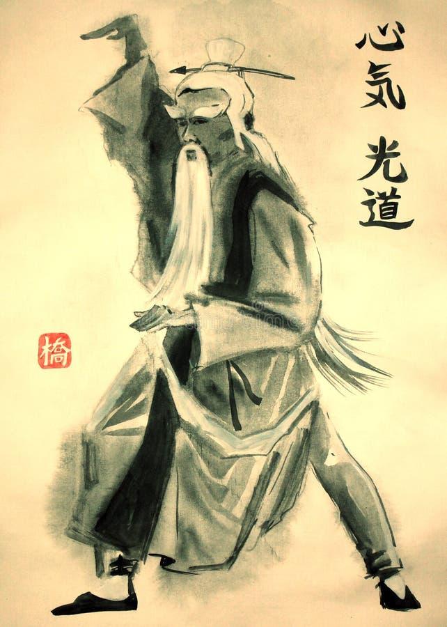 Stående av Sensei i kinesisk vattenfärgmålning royaltyfri illustrationer