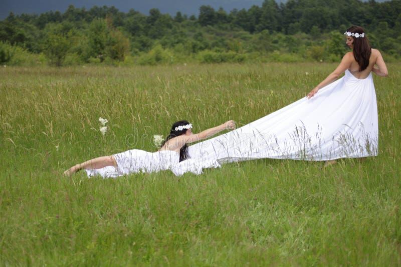Stående av sexig kvinna två i natur arkivbild