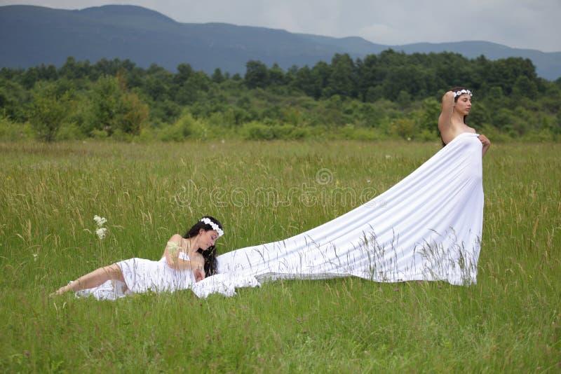 Stående av sexig kvinna två i natur royaltyfria bilder