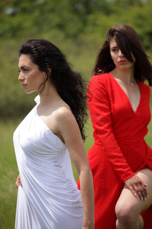 Stående av sexig kvinna två i natur fotografering för bildbyråer
