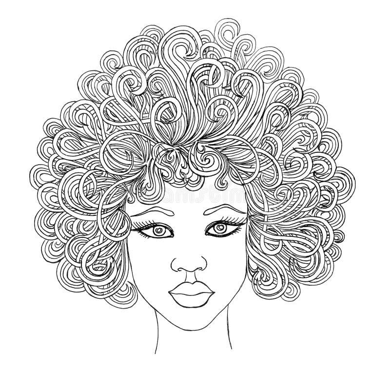 Stående av skönhetafrikankvinnor Grafisk stil vektor illustrationer