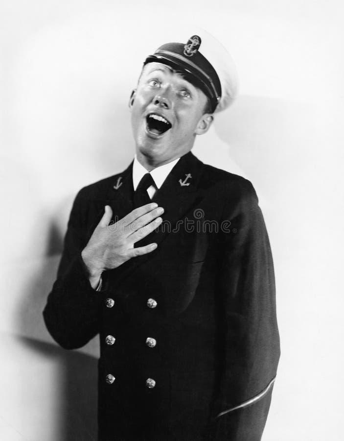 Stående av skratta för sjöman (alla visade personer inte är längre uppehälle, och inget gods finns Leverantörgarantier som där wi royaltyfri illustrationer