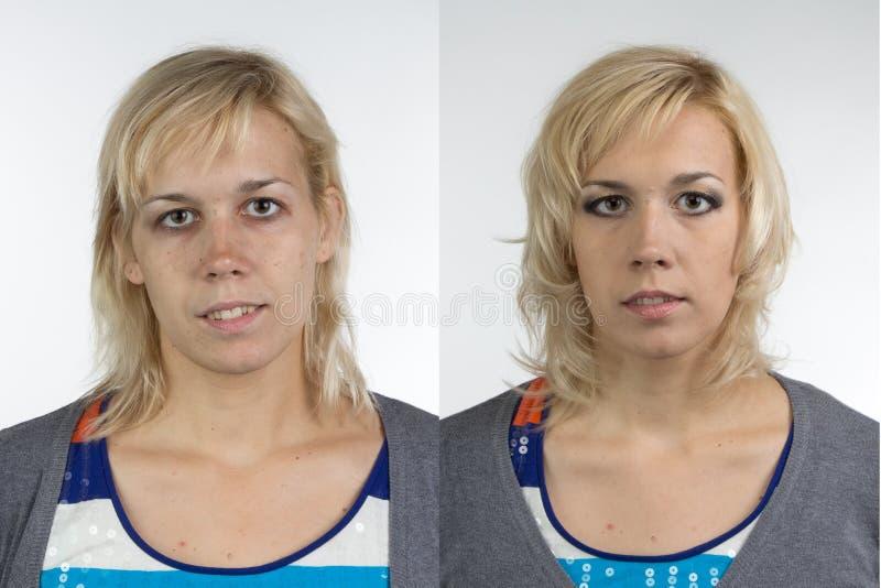 Stående av sminket för kvinna före och efter fotografering för bildbyråer