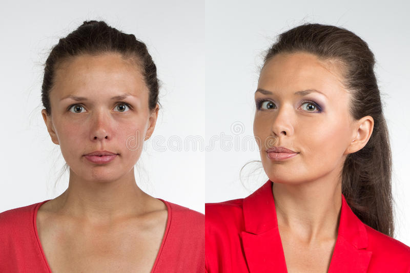 Stående av sminket för ung kvinna före och efter fotografering för bildbyråer