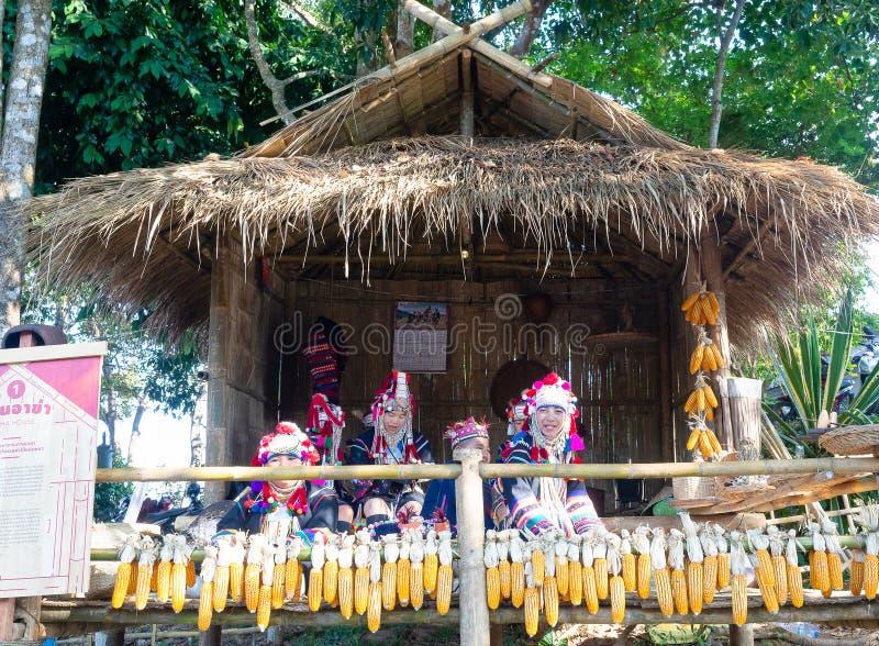 Stående av stammen för dam Akha för grupp den härliga asiatiska i Chiang Rai, Thailand royaltyfri bild