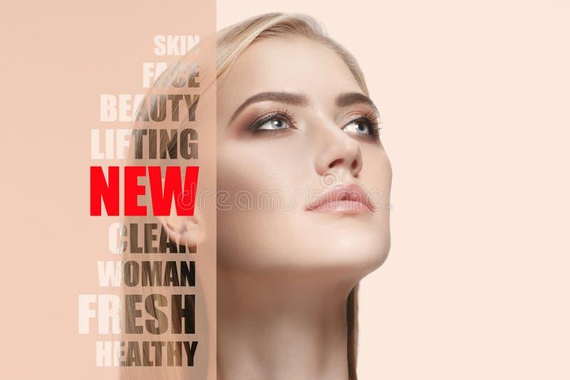 Stående av sund och härlig kvinnan den barn, Plastikkirurgi, medicin, brunnsort, skönhetsmedel och anletebegrepp arkivfoton