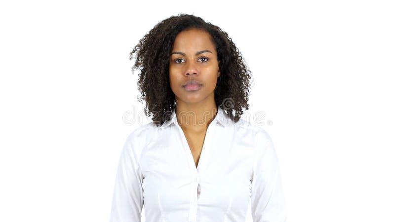 Stående av svarta kvinnan, vit bakgrund royaltyfria foton