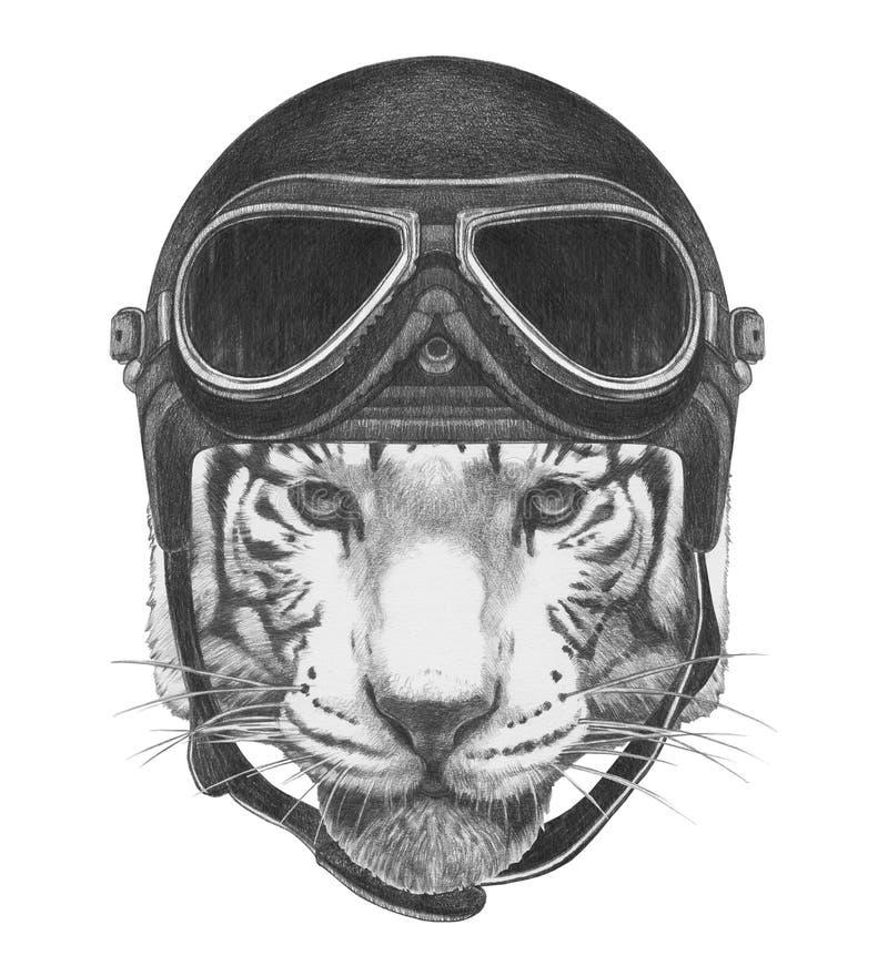 Stående av tigern med tappninghjälmen royaltyfri illustrationer