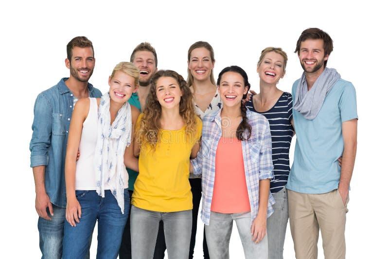 Stående av tillfälligt gladlynt folk över vit bakgrund royaltyfria foton