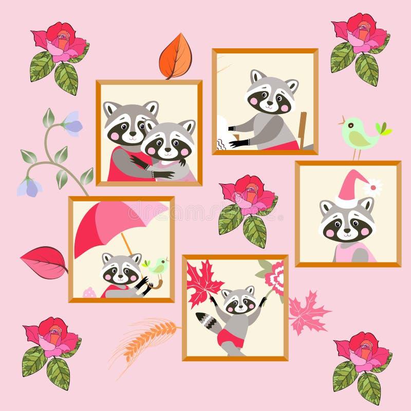 Stående av tvättbjörnfamiljen på den rosa väggen greeting lyckligt nytt år för 2007 kort Djurt tryck för barn vektor illustrationer
