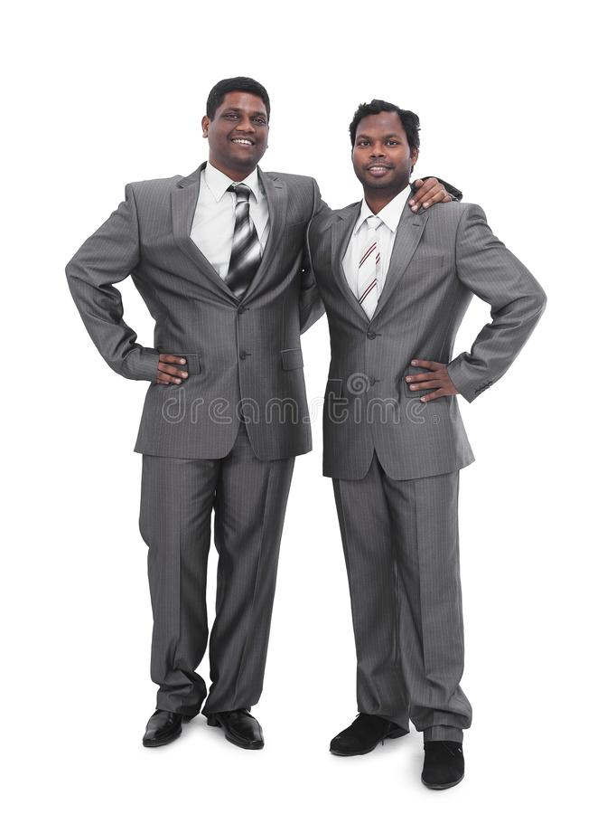 Stående av två affärspartners Isolerat på vit royaltyfria foton