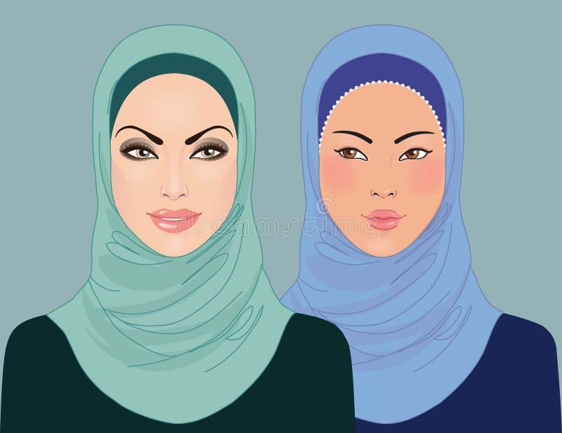 Stående av två härliga flickor för muslim i hijab royaltyfri illustrationer