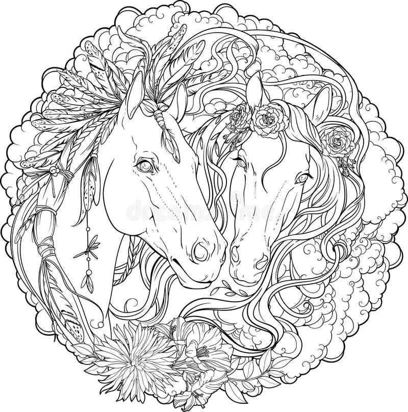 Stående av två hästar, mannen och hingsten med blommor stock illustrationer